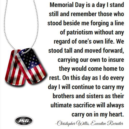 What Memorial Day Means to JSG - Christopher Willis